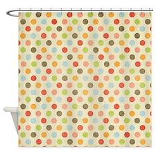 Faded Rainbow Polka Dot Shower Curtain
