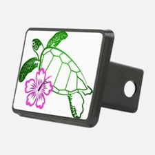 Green Turtle with Hibiscus Hitch Cover