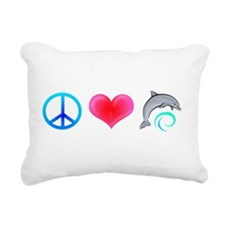 PeaceLoveDolphin-Dark.png Rectangular Canvas Pillo