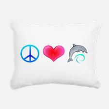PeaceLoveDolphin-Dark.png Rectangular Canvas Pillo