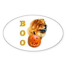 Halloween Chow Chow Boo Oval Decal