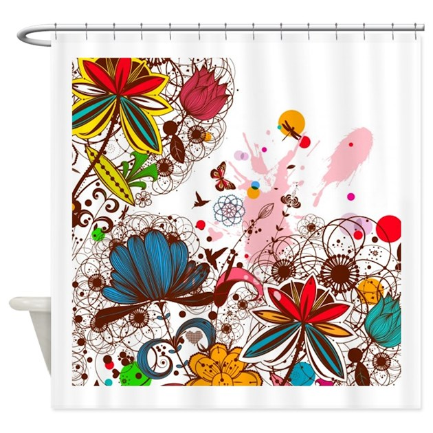 Bright Modern Floral Shower Curtain by tees4sale