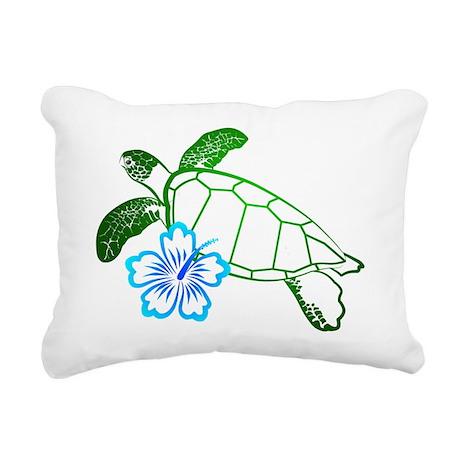 TurtleFlowerBlue.png Rectangular Canvas Pillow
