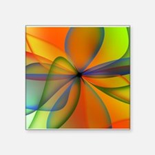 "Orange Swirl Flower Square Sticker 3"" x 3"""