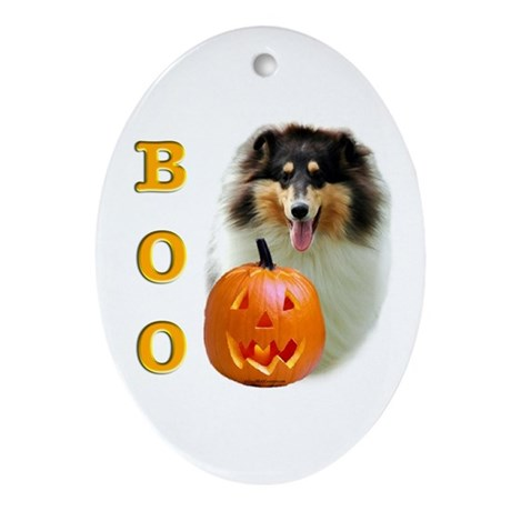 Halloween Rough Collie Boo Oval Ornament