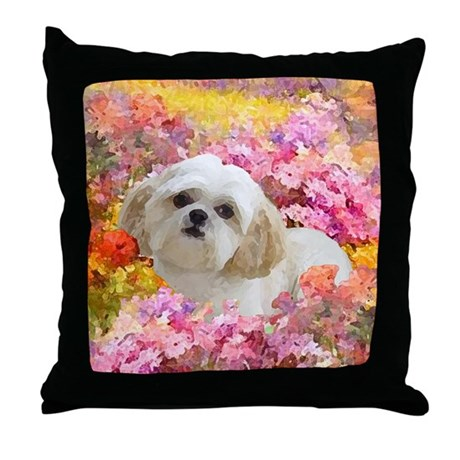 Shih Tzu Fine Art Lily Throw Pillow