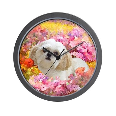 Shih Tzu Fine Art Lily Wall Clock