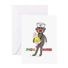 PICU Nurse Sock monkey.PNG Greeting Card