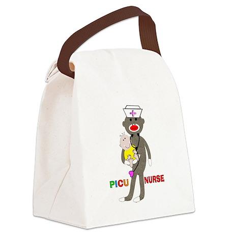 PICU Nurse Sock monkey.PNG Canvas Lunch Bag