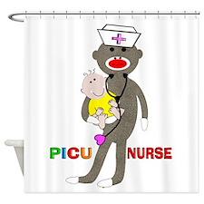 PICU Nurse Sock monkey.PNG Shower Curtain