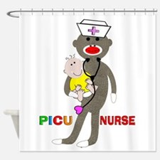 PICU Nurse Sock monkey.PNG Shower Curtain