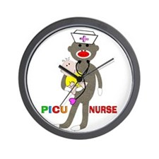 PICU Nurse Sock monkey.PNG Wall Clock