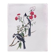 BLACK-CRESTED TITMOUSE Throw Blanket