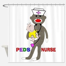 PEDS Nurse sock monkey.PNG Shower Curtain