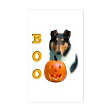 Halloween Smooth Collie Boo Rectangle Decal