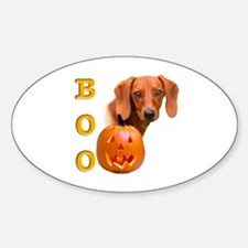 Halloween Dachshund Boo Oval Decal