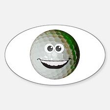Happy golf ball Sticker (Oval)