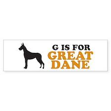 """G is for Great Dane"" Bumper Bumper Sticker"