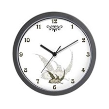 Sleeping Golden Dragonette Wall Clock