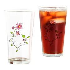 Pink Flower Swirl Drinking Glass