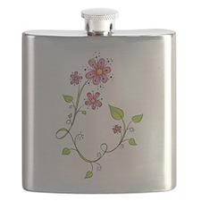Pink Flower Swirl Flask
