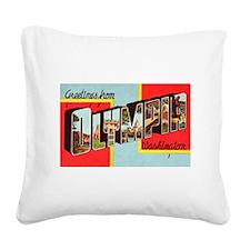 Olympia Washington Greetings Square Canvas Pillow