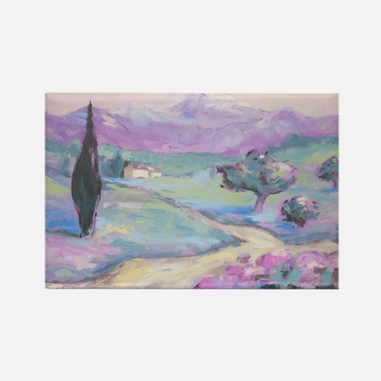 Purple mountain Painting Rectangle Magnet