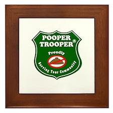 Cute Dog poop Framed Tile