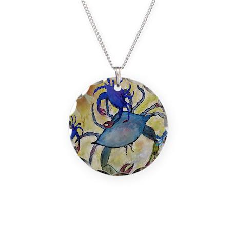 Crab Art Necklace Circle Charm