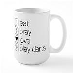 eat play love and play darts Large Mug