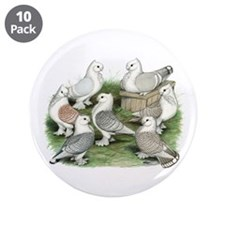"""Classic Frill Pigeons 3.5"""" Button (10 pack)"""