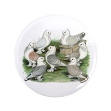 """Classic Frill Pigeons 3.5"""" Button"""