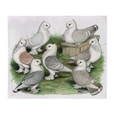 Classic Frill Pigeons Throw Blanket
