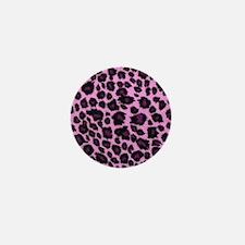 Purple Leopard Print Mini Button