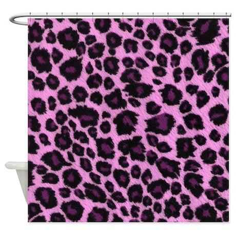 purple leopard print shower curtain by trikkmedia