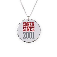 Sober Since 2001 Necklace Circle Charm