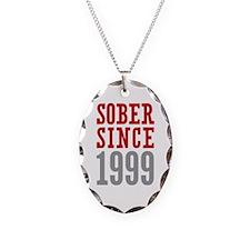 Sober Since 1999 Necklace Oval Charm