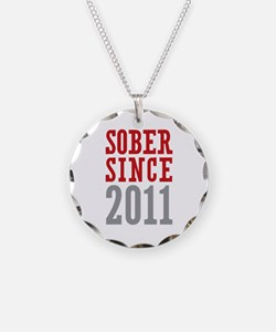 Sober Since 2011 Necklace Circle Charm