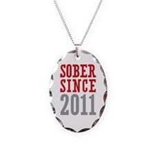 Sober Since 2011 Necklace Oval Charm