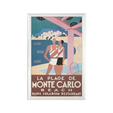 Monte Carlo Retro Poster Rectangle Magnet