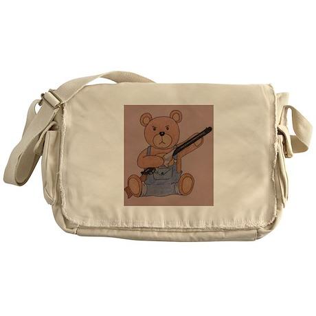 Gun-Toting Teddy Messenger Bag