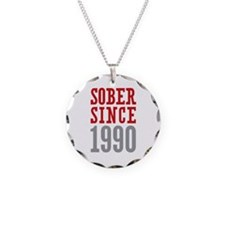 Sober Since 1990 Necklace Circle Charm