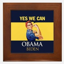 Obama Yes Rosie the Riveter Framed Tile