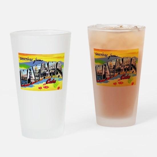 Havana Cuba Greetings Drinking Glass