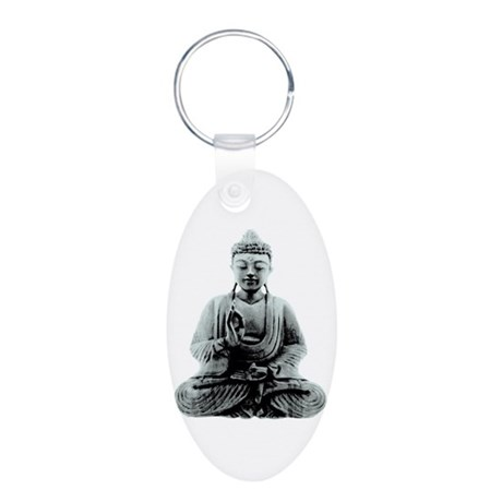Buddha Aluminum Oval Keychain