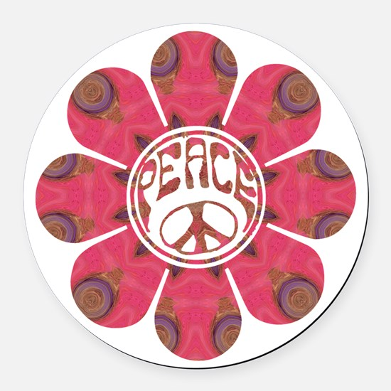Peace Flower - Affection Round Car Magnet