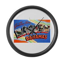 Nassau Bahamas Greetings Large Wall Clock