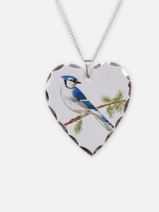 Blue Jay Heart Necklace