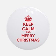 Keep calm and merry christmas Ornament (Round)