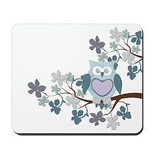 Winter Polka Owl in Tree Mousepad